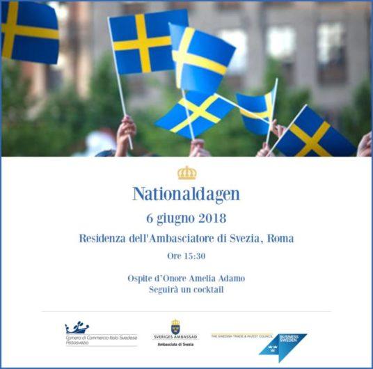 6 giugno 2018 nationaldagen festa nazionale svedese roma residenza ambasciatore amelia adamo robert rydberg aziende svedesi networking cocktail